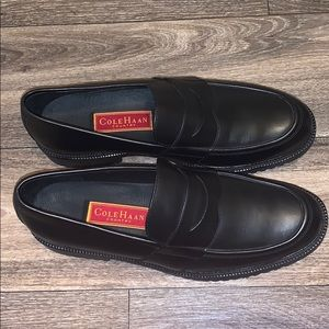 Cole Haan Country Mens Driving Black Penny Loafers